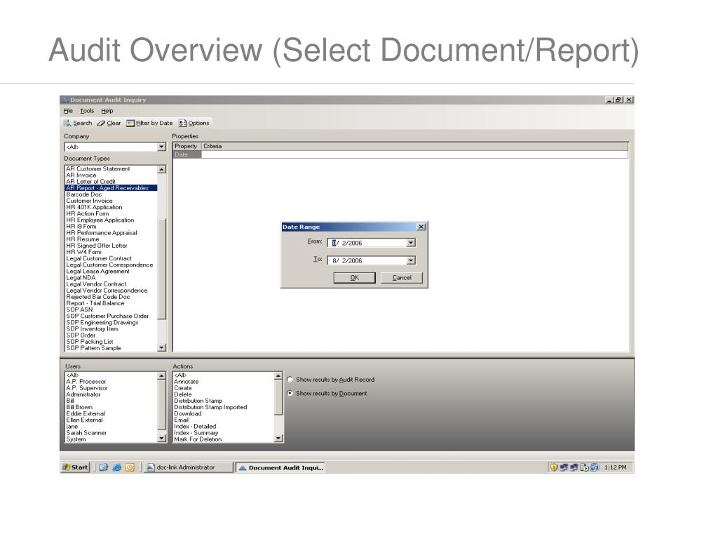 Audit Overview (Select Document/Report)