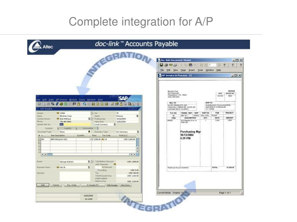 Complete integration for A/P