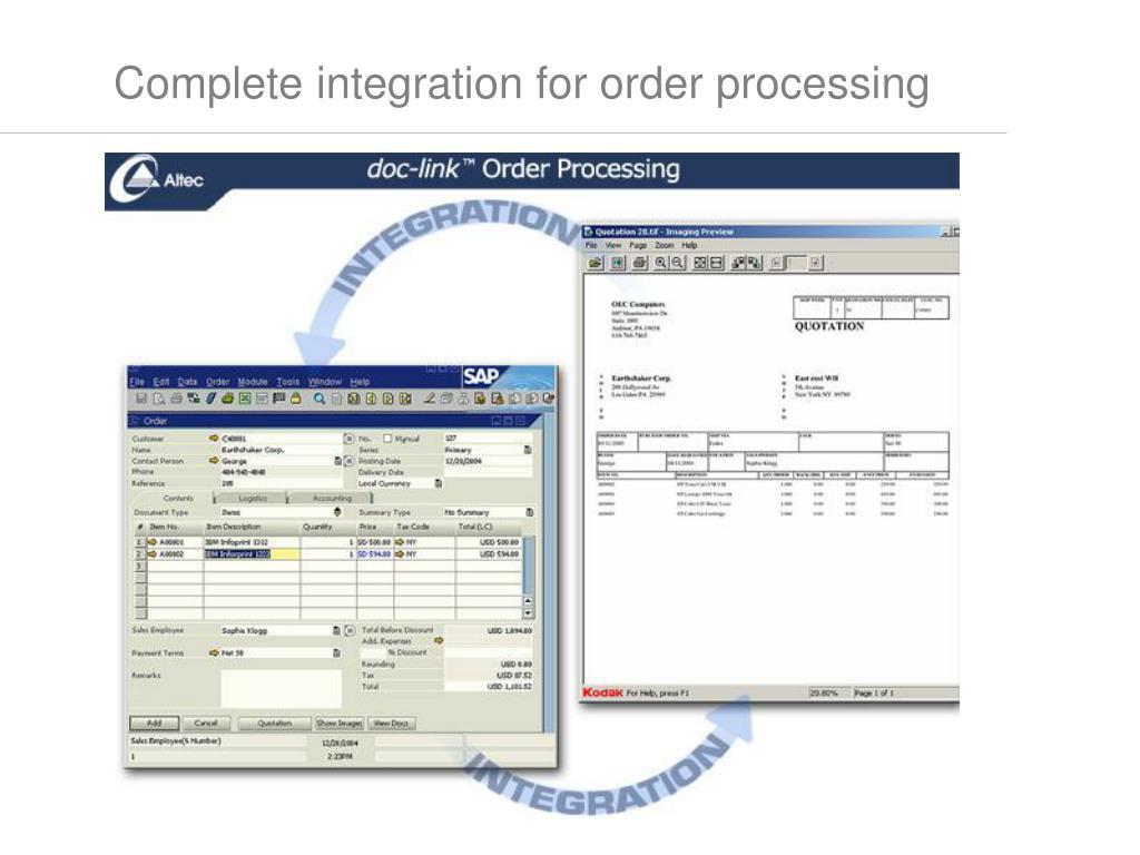 Complete integration for order processing