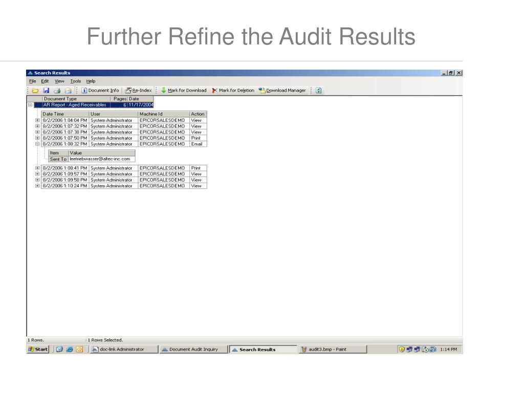 Further Refine the Audit Results