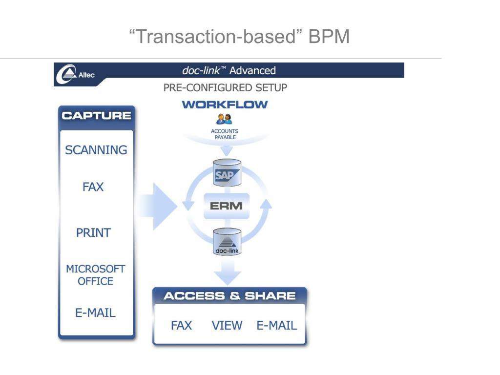 """""""Transaction-based"""" BPM"""