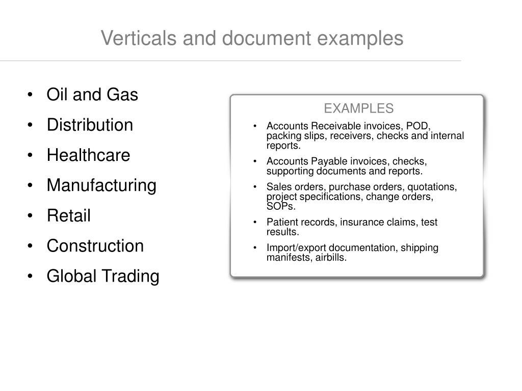 Verticals and document examples