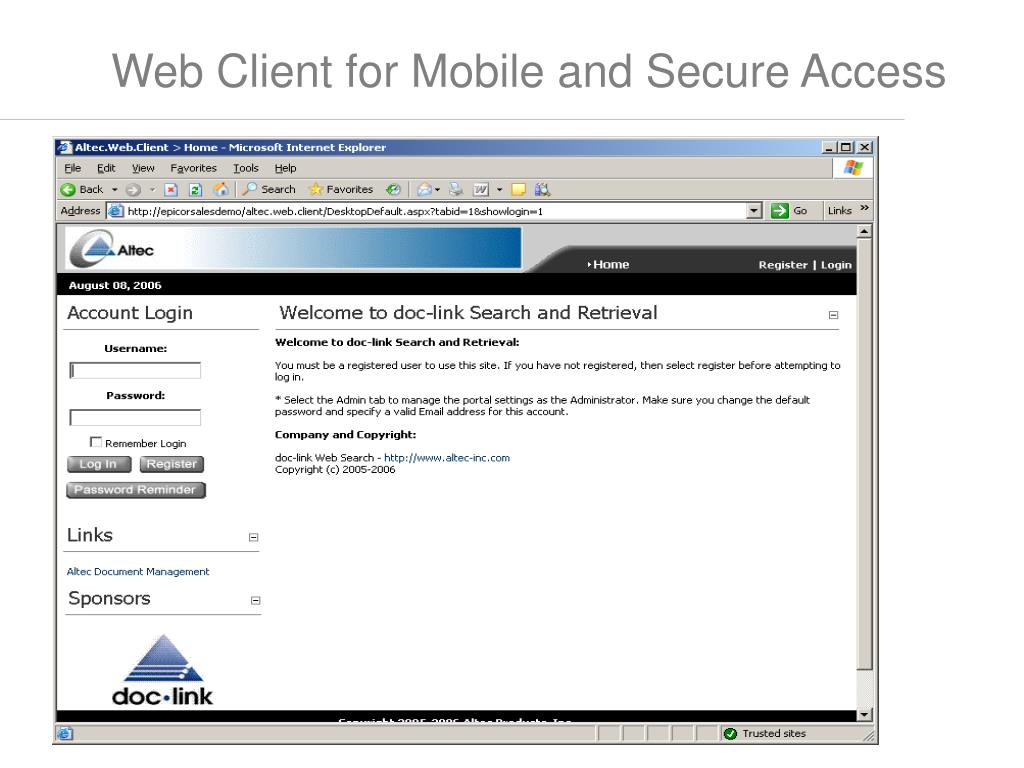 Web Client for Mobile and Secure Access