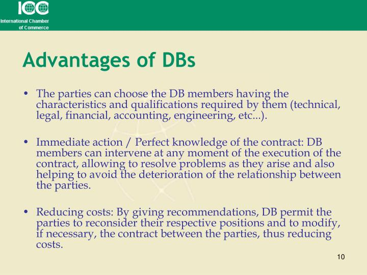 Advantages of DBs