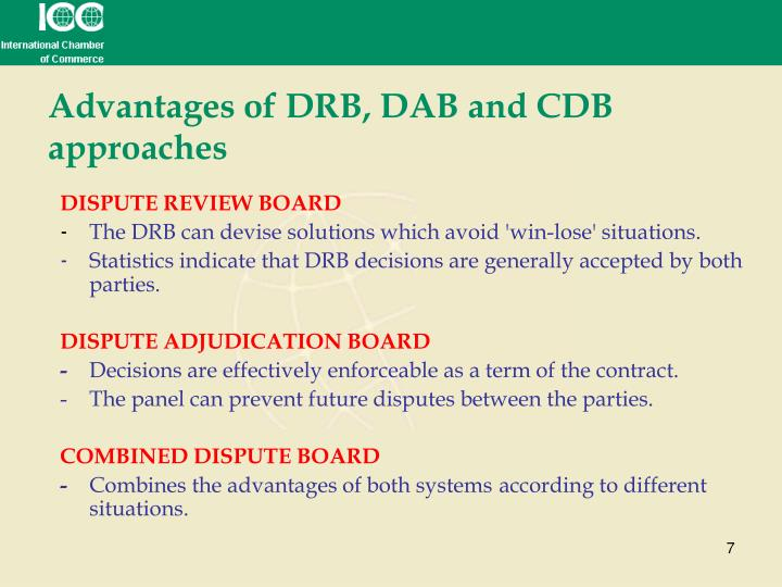 Advantages of DRB, DAB and CDB approaches