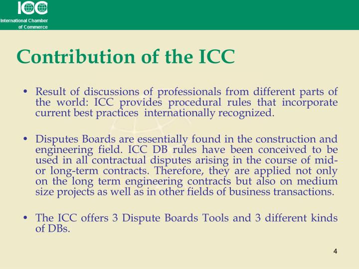 Contribution of the ICC