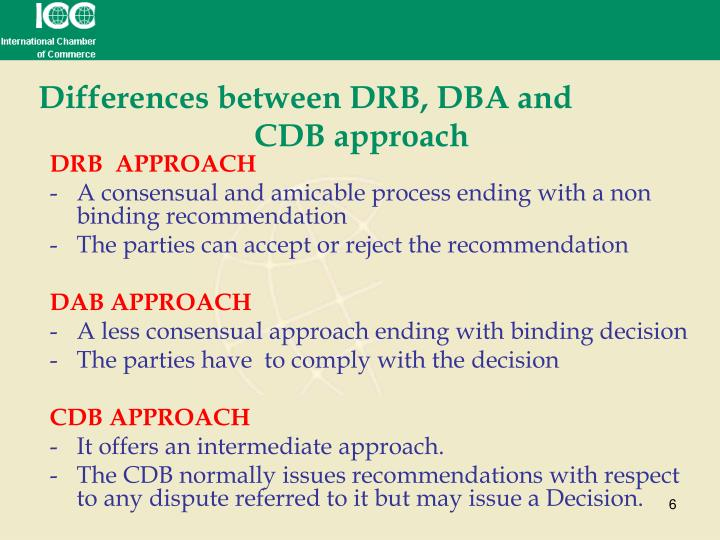 Differences between DRB, DBA andCDB approach