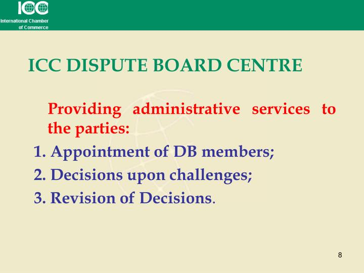 ICC DISPUTE BOARD CENTRE