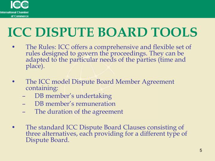 ICC DISPUTE BOARD TOOLS