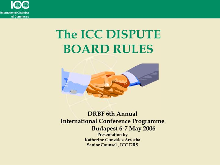 The icc dispute board rules