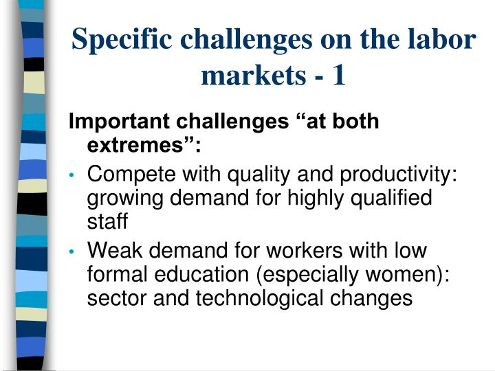 Specific challenges on the labor markets - 1