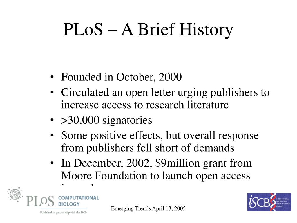 PLoS – A Brief History