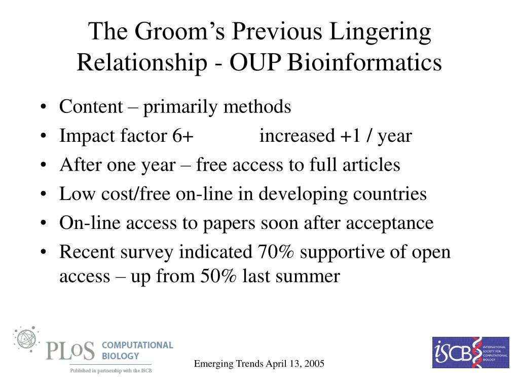 The Groom's Previous Lingering Relationship - OUP Bioinformatics