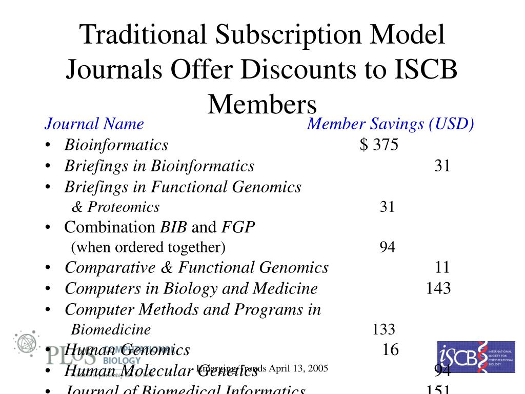 Traditional Subscription Model Journals Offer Discounts to ISCB Members