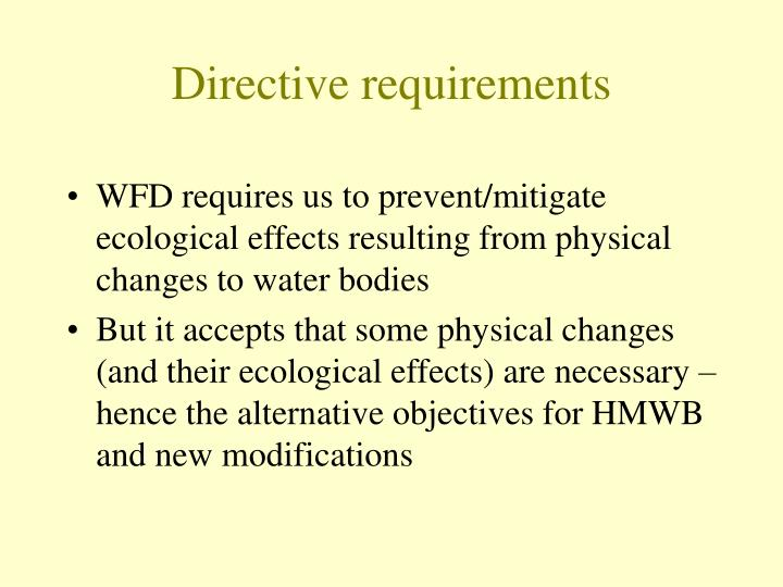 Directive requirements