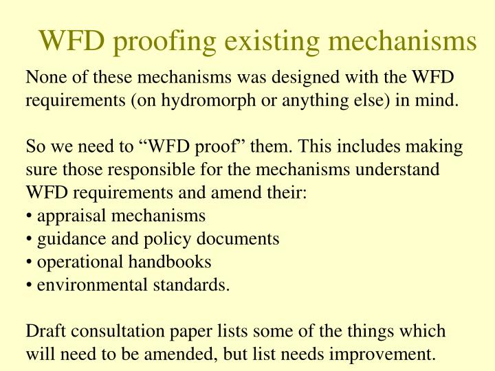 WFD proofing existing mechanisms