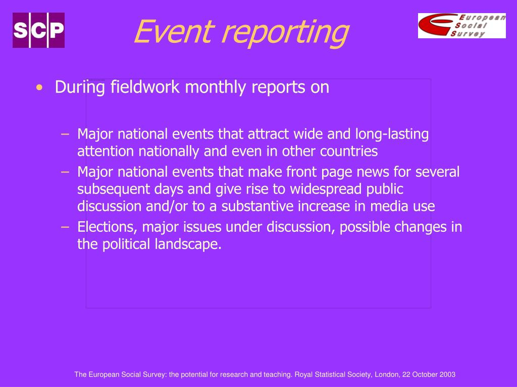 Event reporting