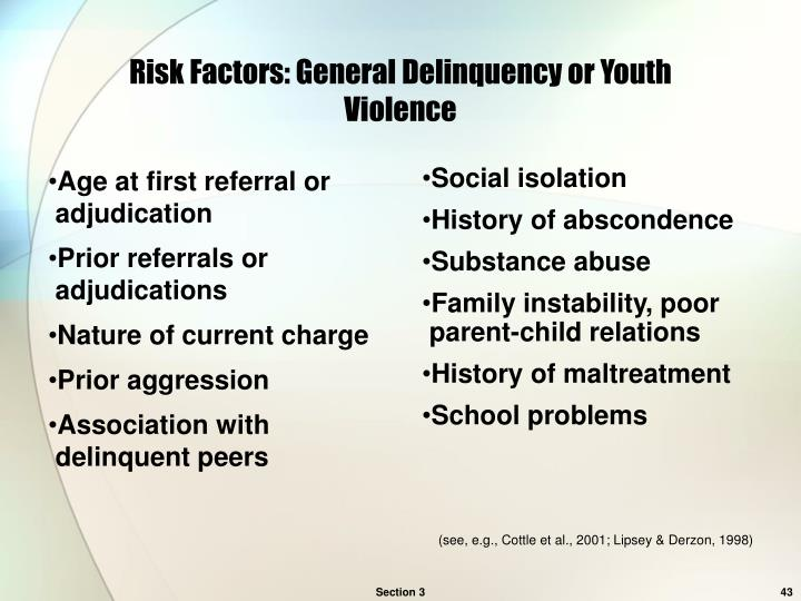 juvenile delinquency and the associating factors Juvenile offenders, in general, and on individual risk factors, but less focus on sub -  axis-1 psychopathology were associated with seriousness of recidivism.