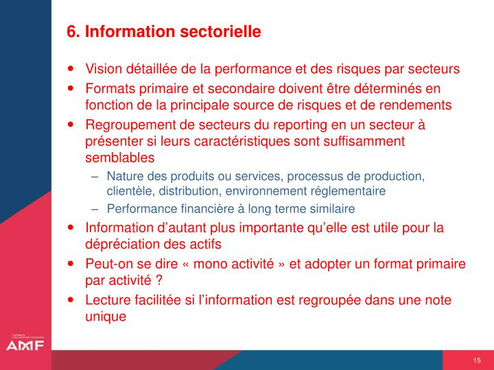 6. Information sectorielle