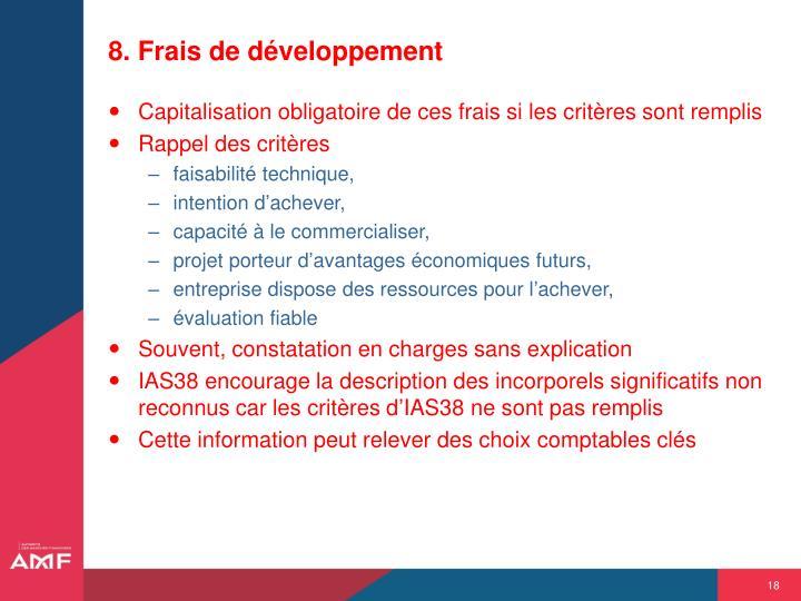 8. Frais de développement