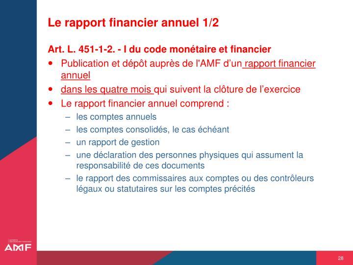 Le rapport financier annuel 1/2