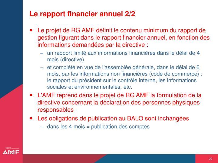 Le rapport financier annuel 2/2