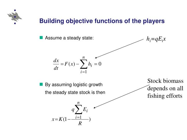 Building objective functions of the players