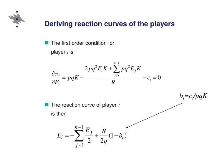 Deriving reaction curves of the players