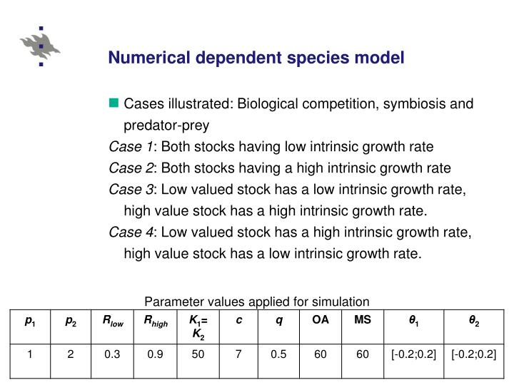 Numerical dependent species model