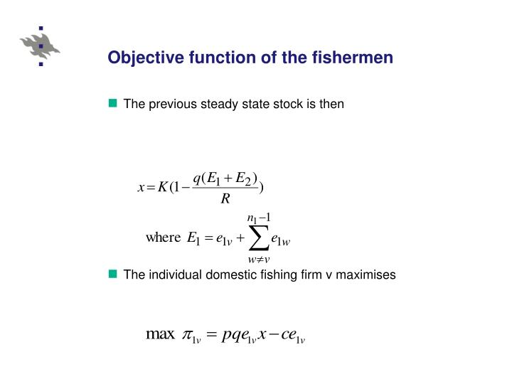 Objective function of the fishermen