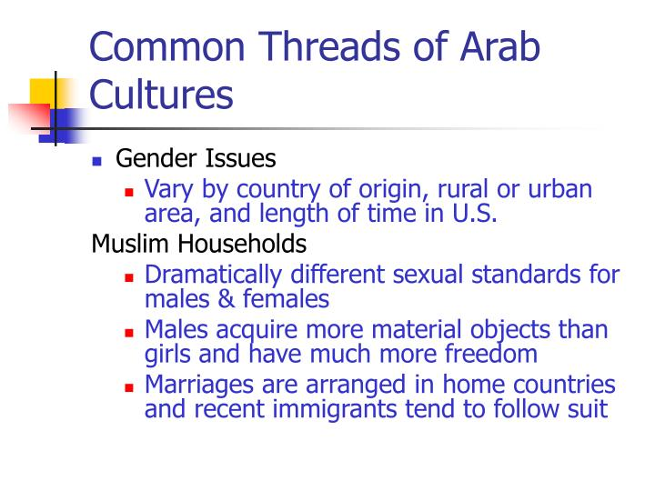 Common Threads of Arab Cultures