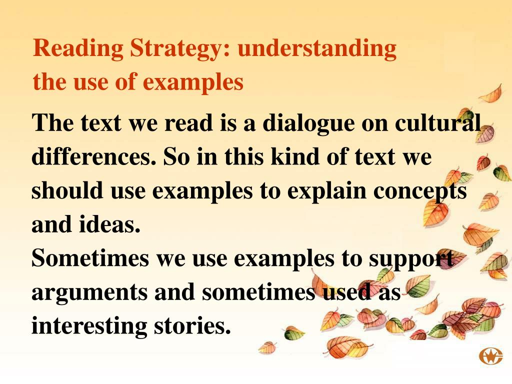 Reading Strategy: understanding the use of examples