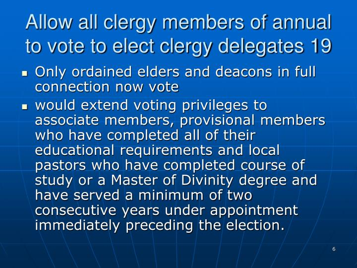 Allow all clergy members of annual to vote to elect clergy delegates 19