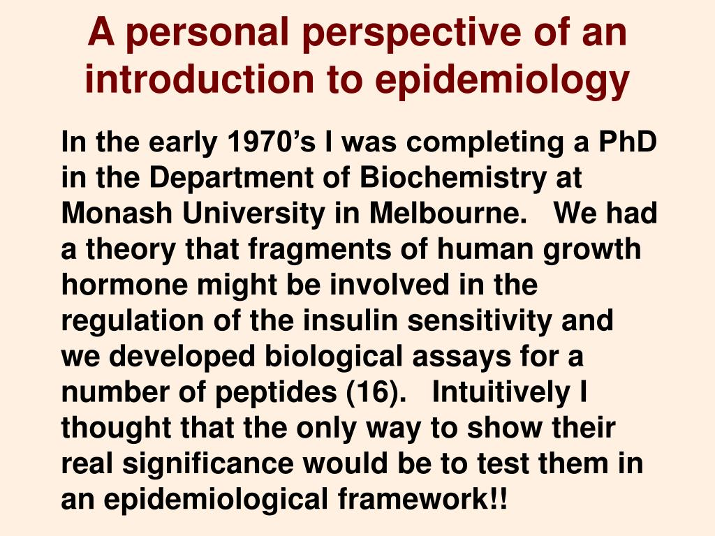 A personal perspective of an introduction to epidemiology