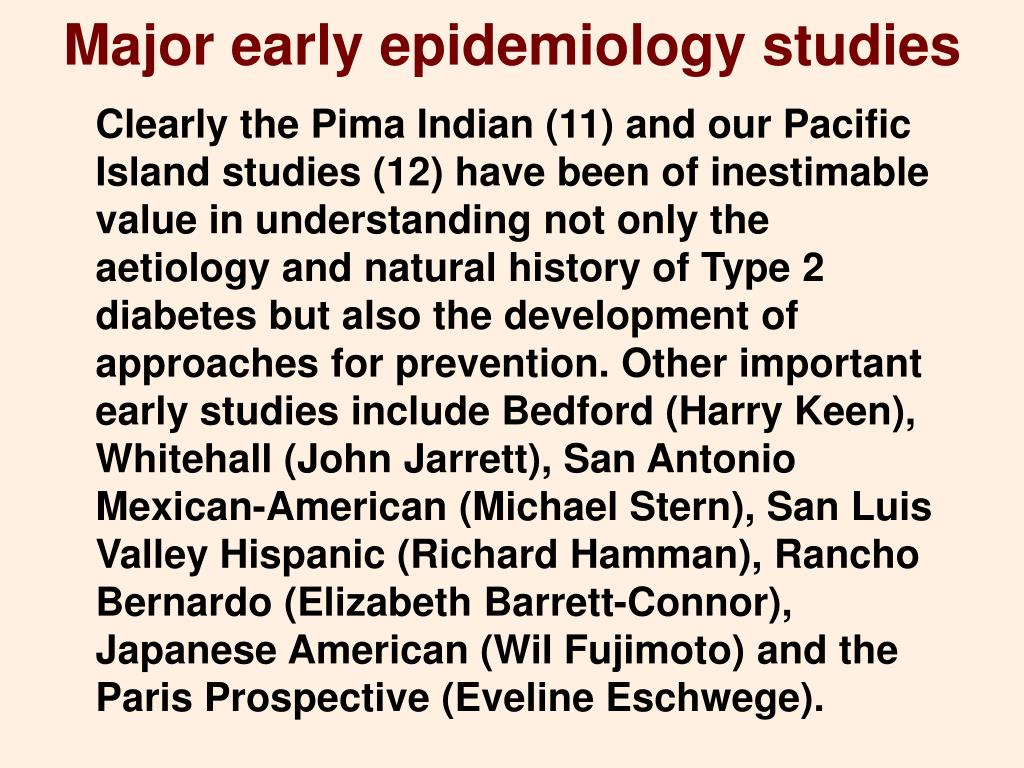 Major early epidemiology studies