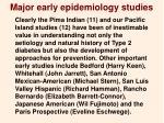 major early epidemiology studies