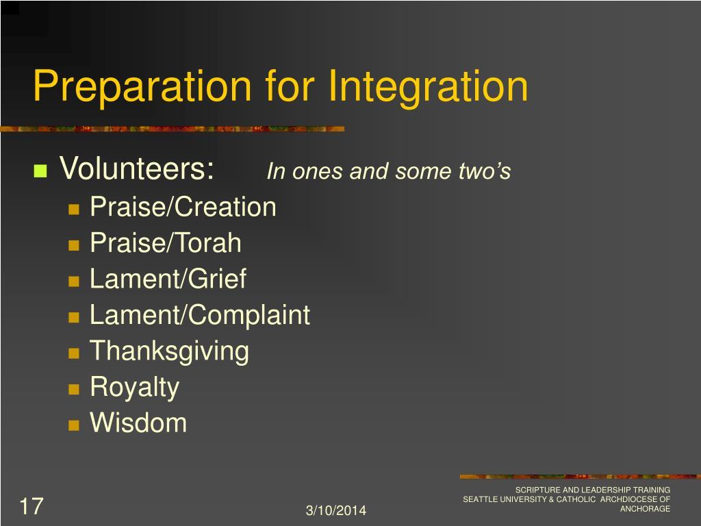 Preparation for Integration