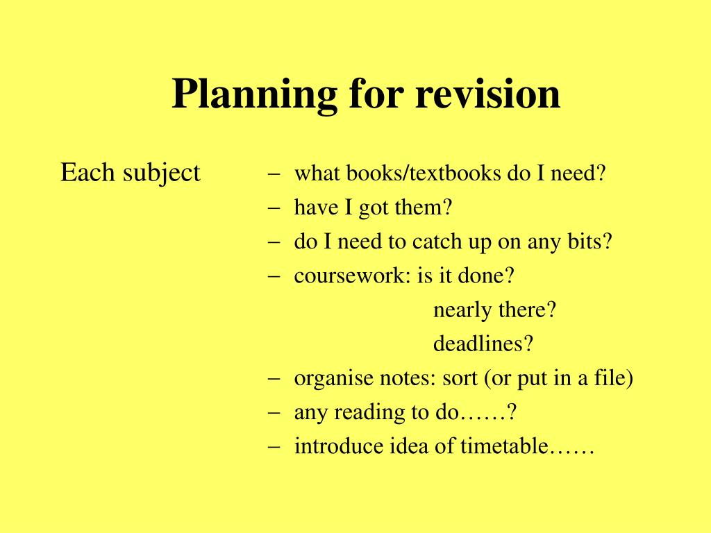 Planning for revision