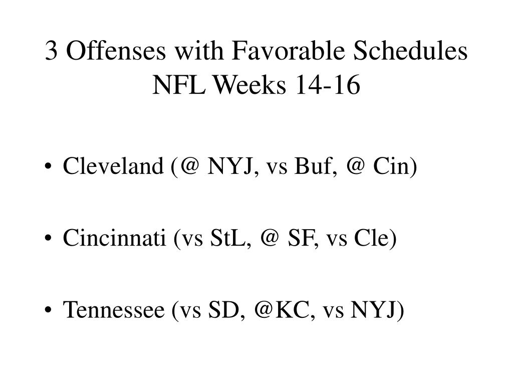 3 Offenses with Favorable Schedules NFL Weeks 14-16