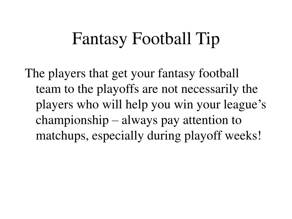 Fantasy Football Tip