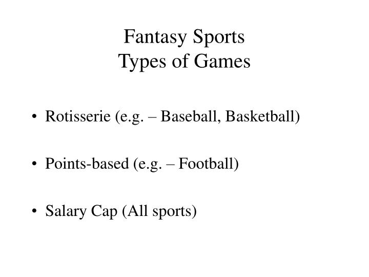 Fantasy sports types of games