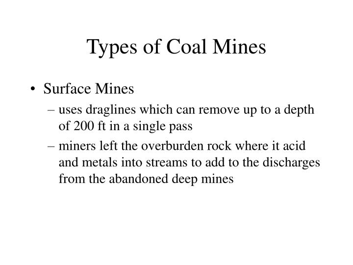 Types of Coal Mines