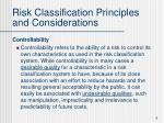 risk classification principles and considerations6