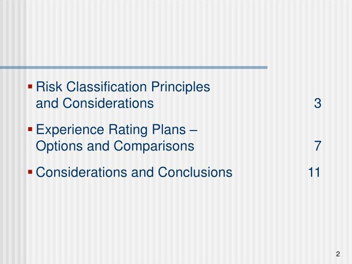 Risk Classification Principles