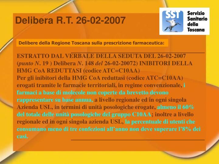 Delibera R.T. 26-02-2007