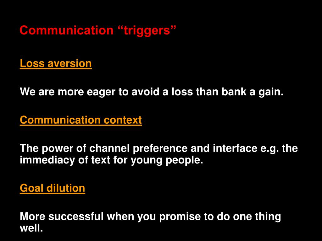 "Communication ""triggers"""