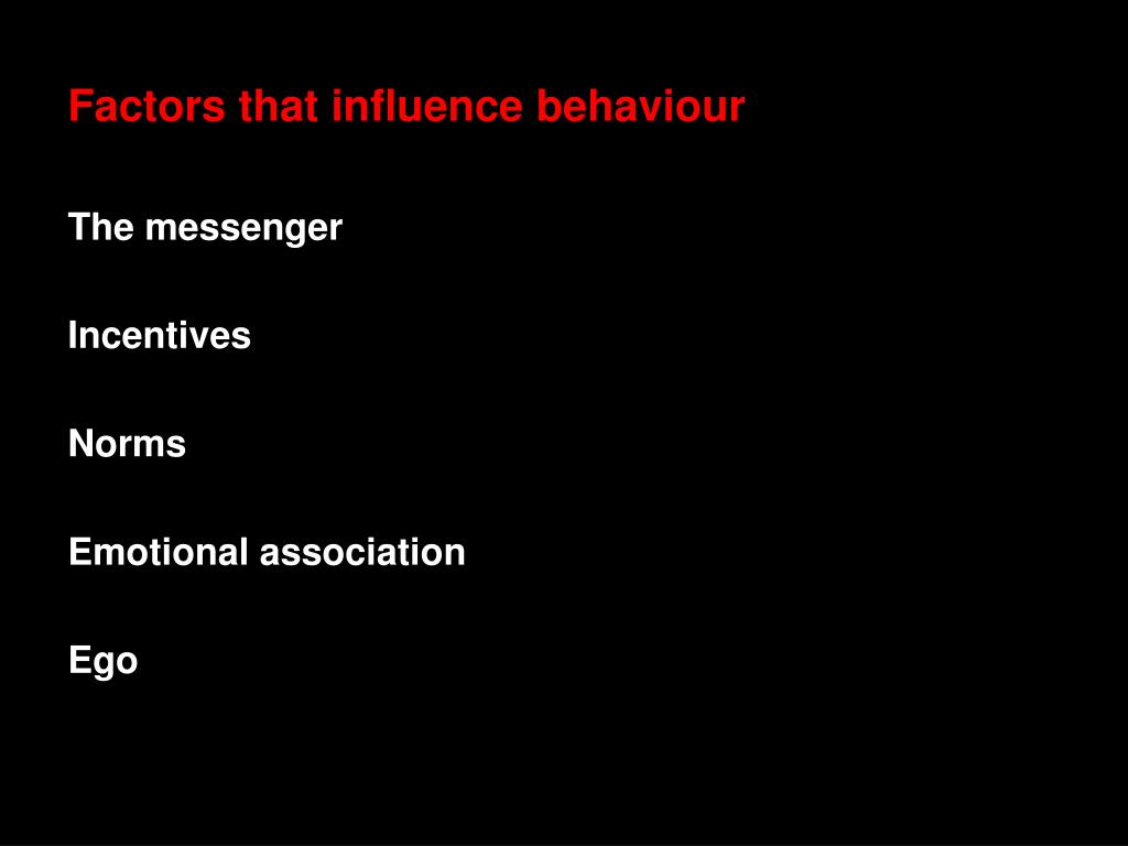 Factors that influence behaviour