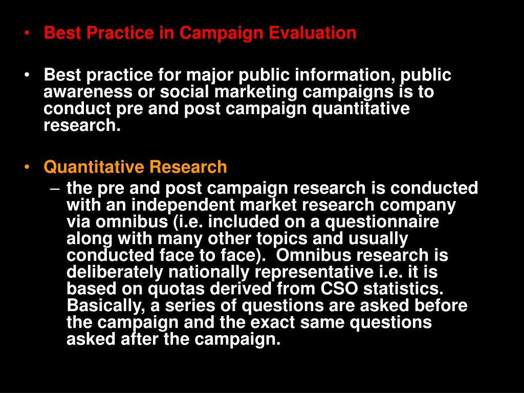 Best Practice in Campaign Evaluation