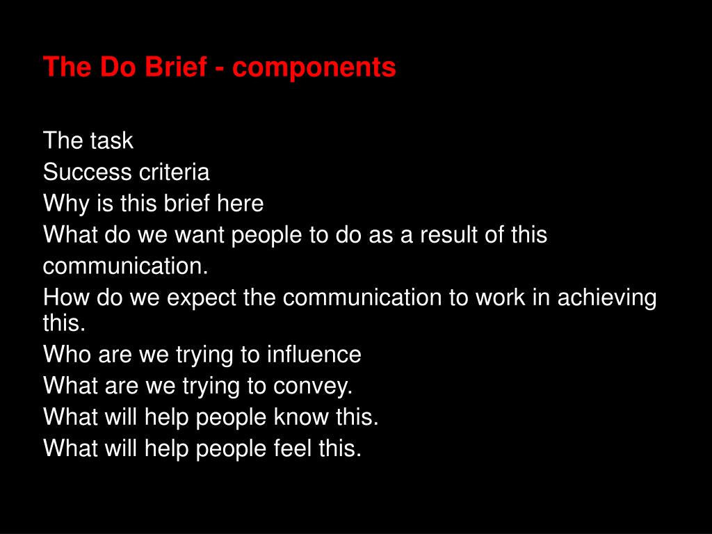 The Do Brief - components