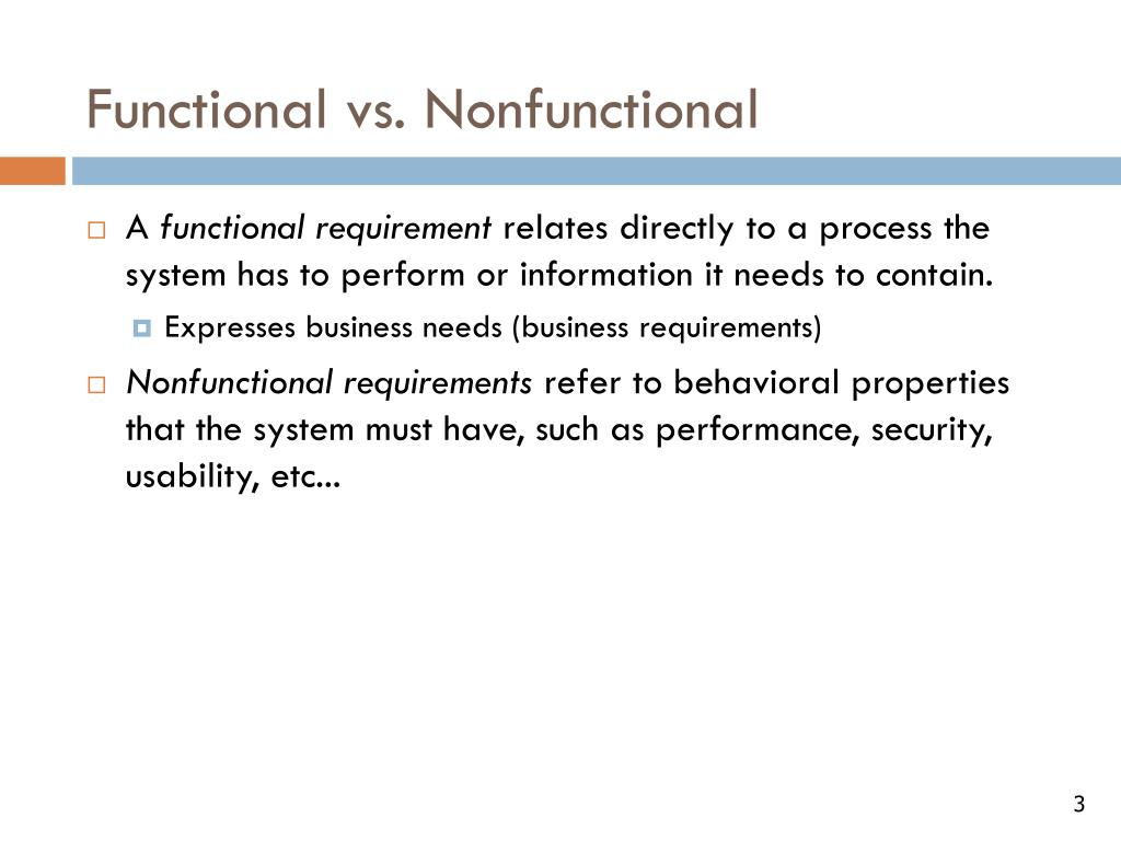 Functional vs. Nonfunctional